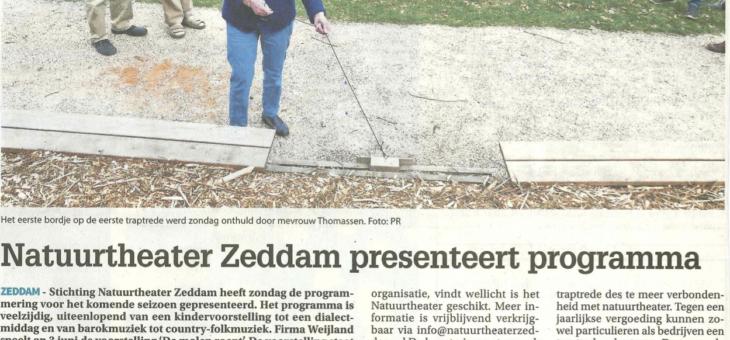 """In 't nieuws: Montferland Nieuws """"Natuurtheater Zeddam presenteert afwisselend programma"""""""